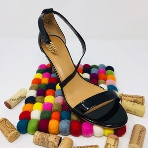 "J Crew  Black Patent Ankle Strap  Sexy 3"" Sandal"